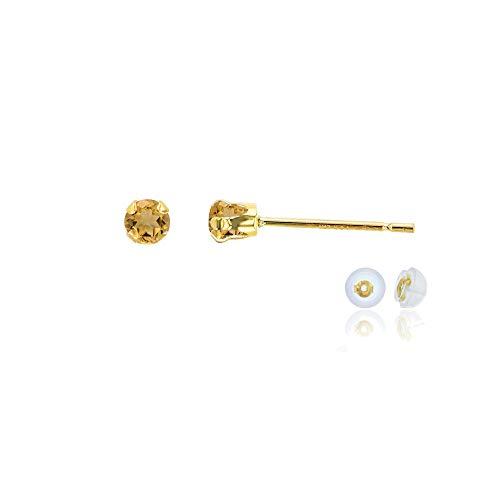 Genuine 10K Solid Yellow Gold 3mm Round Natural Citrine November Birthstone Stud Earrings Citrine & Sapphire Round Earrings