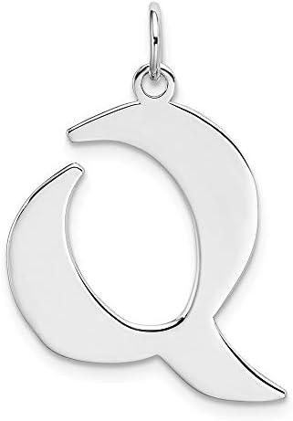 Schöne Sterling Silber rhodiniert Medium Artisan-Block Initial Q Charme