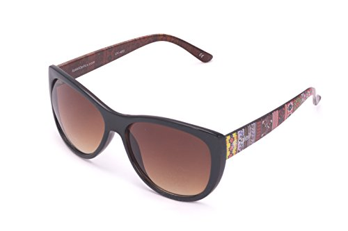 Soleil CANTON Meztli Sunglasses; Subtle Cateye Profile, Brown Gradient Lens, Expressive Aztec or Tie Dye (Aztec Sun Collection)