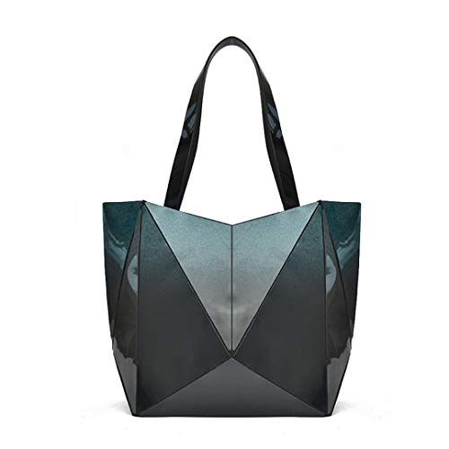 Handbag Black to Diamond American Zipper Geometric Style Bag Gradient and Folding Ladies Blue European Texture PTw7x1qn