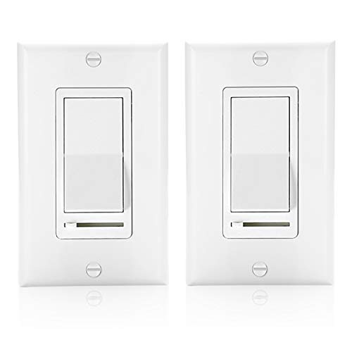 ([2 Pack] BESTTEN Decorative Rocker Light Dimmer Switch with Horizontal Slider & Side Adjuster for Incandescent or Halogen Bulbs, CFL and LED Dimmable Lamps, Decor Wall Plate Included, UL Listed, White)