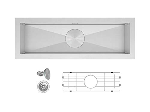 Oban 23 inch Undermount 16 Gauge Stainless Steel Trough Wet Bar or Prep Sink by Zuhne (Bowl Single Compact)