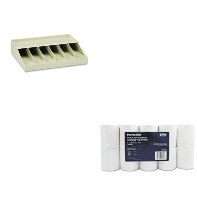 KITMMF210470089PMC07906 - Value Kit - Pm Company Single-Ply Thermal Cash Register/POS Rolls (PMC07906) and MMF Bill Strap Rack (MMF210470089)