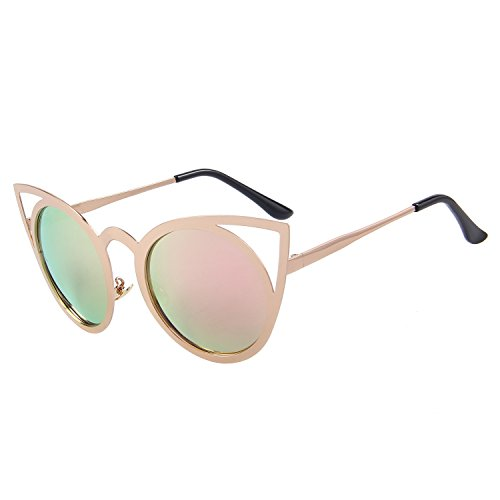 MERRY'S Cat Eye Sunglasses Round Metal Cut-Out Flash Mirror Lens Metal Frame Sun glasses S8064 (Pink, ()