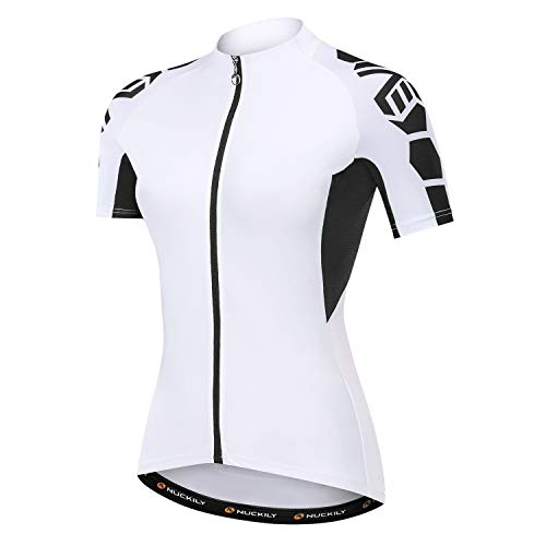 NUCKILY Cycling Jersey Bike Shirt Black and White Angel Women's Breathable Bicycle Top