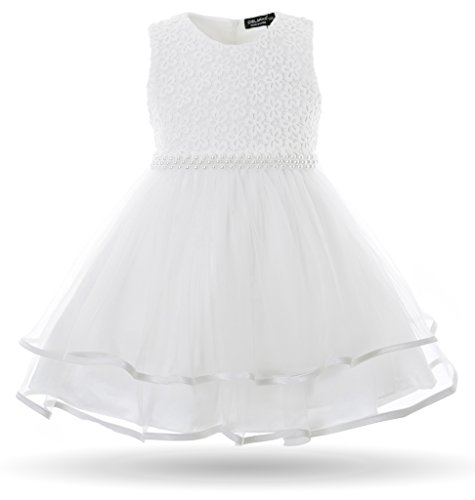 CIELARKO Baby Girls Dress Infant Birthday Wedding Party Dresses for 0-24 Month (19-24 Months, White)