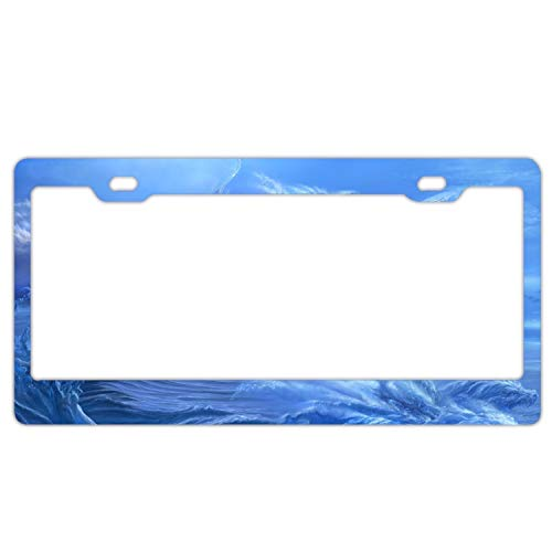 GGRGVR Fantasy Ocean License Plate Frames Aluminium Car Licence Plate Covers Slim Design for US Standard