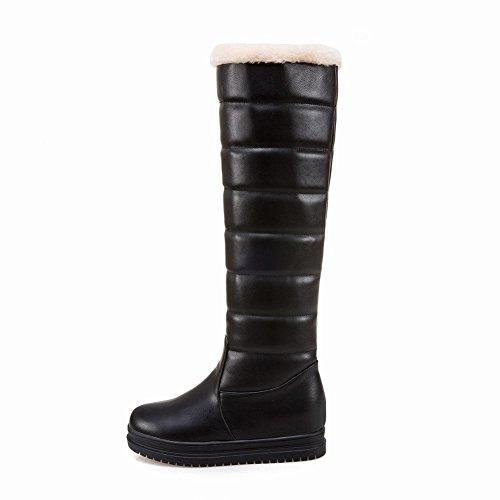 Charm Foot Mujeres Winter Hidden Heel Platform Snow Knee Botas Altas Negro