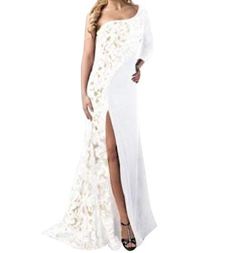 Dress Bodycon Lace Splicing Women White Long Slim Coolred Fit Pencil Split wnWTPFzq