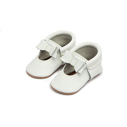 Freshly Picked - Rubber Mini Sole Leather Ballet Flat Bow Toddler Girl Moccasins - Size 4 Bright White ()