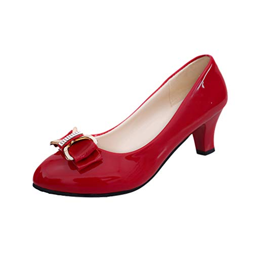 Cenglings Women's Sexy Patent Leather Bow Round Toe Shallow Mouth Low Chunky Heel Slip On Single Shoes Offoce Pumps