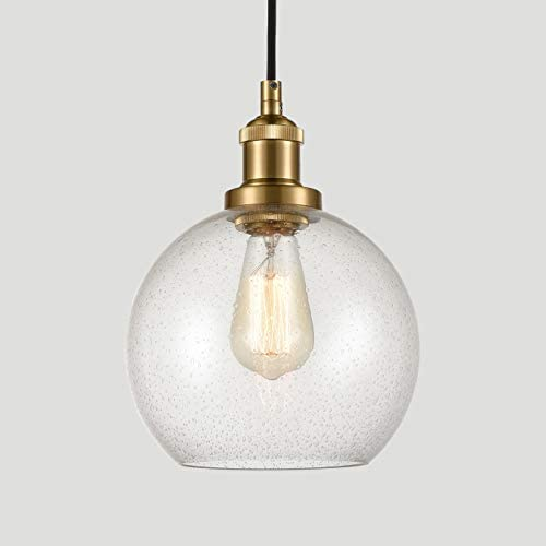 Modern Brass Seeded Glass Pendant Lights Golden Finish Pendant Lighting Fixture