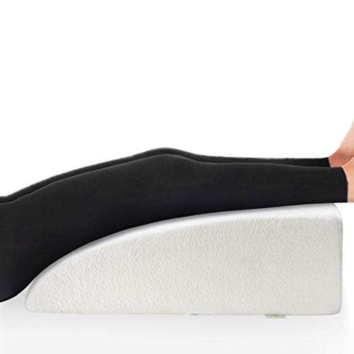"OasisSpace 8"" Leg Rest Pillow, Leg Elevation Pillow Bed Wedge Post Surgery Elevated Cushion 1.5"" Memory Foam Recovery Wedge for Back, Hip and Knee Pain Relief, Foot and Ankle Injury - Removable Cover"