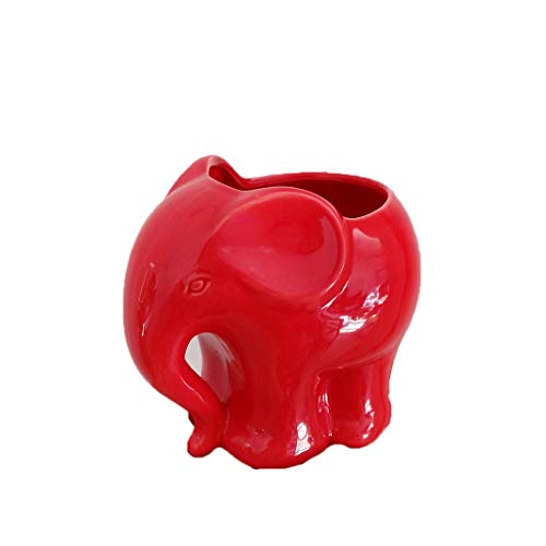 (Youfui Cute Succulent Planter Animal Shaped Flower Pot Decor for Home Office Desk (Red)