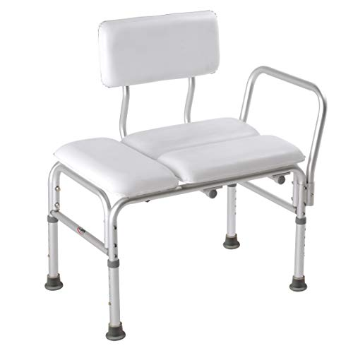Carex Deluxe Padded Tub Transfer Bench - Shower Bench with Height Adjustable Legs - Convertible to Right or Left Hand Entry ()