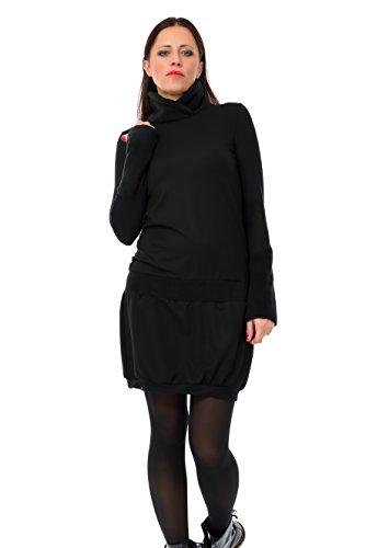 4ff20a03eb45 3Elfen Winter Dress Turtleneck Fleece Sweatshirt Long Sleeve Dresses woman  black - handmade in Berlin