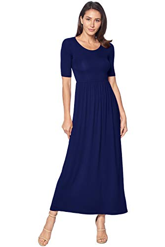 82 Days Women's Casual 3/4 Sleeve Long Maxi Dress with Elastic Waist Made in USA - Navy 2X ()