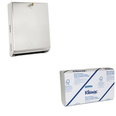 KITBOB262KIM02046 - Value Kit - KIMBERLY CLARK KLEENEX Multifold Paper Towels (KIM02046) and Bobrick ClassicSeries 262, Stainless Steel Surface-Mounted C Fold and Multifold Paper Towel Dispenser (BOB262)