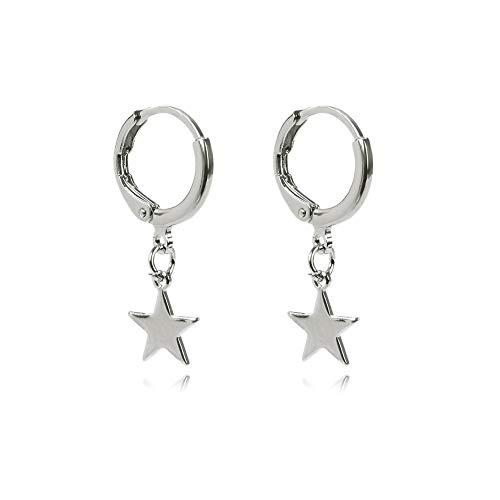Women Girls Small Hoop Drop Earrings Star Moon Pearl Triangle Feather Dangle Earrings (Silver Star) ()