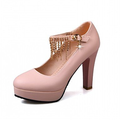 mujeres borla de partido Pink las de Primavera de hebilla cuero y del la tacón Rosa Blanco oficina Negro grueso Amarillo Otoño y vestido de noche la Comfort Talones de carrera WESxnSH