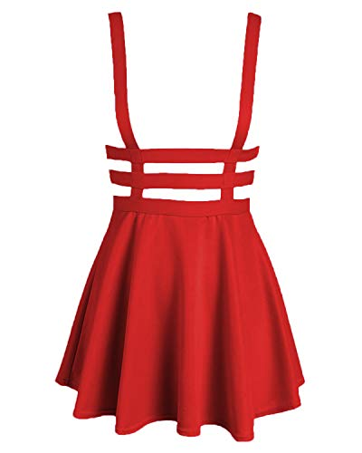 Bluetime Womens Pleated Short Braces Skirt (FBA) (XXL, Red)