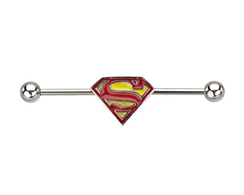 DC+Comics Products : Officially Licensed DC Comics Stainless Steel Yellow Superman Logo Industrial Barbell 14 Gauge 35mm