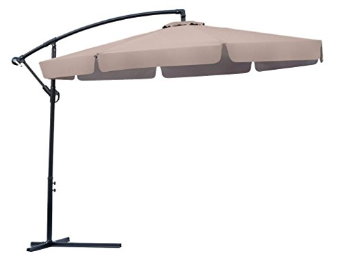 Trademark Innovations 10′ Scalloped Edge Offset  Patio Umbrella (Tan) For Sale