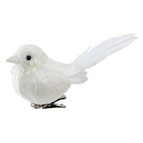 NORTHLIGHT NL00082 Glitter Decorative White Bird Clip Ornament, 5