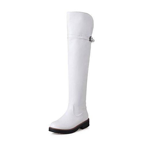BalaMasa Womens Zipper Platform Round-Toe Urethane Boots White RvVxROBLce