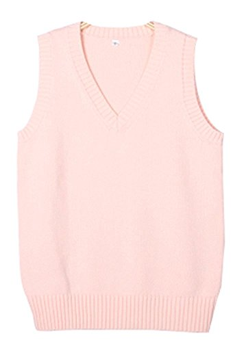m Vest Short Sleeves Cardigan (X-Large/Asia XXL, Pink) (Juniors Sweater Vest)