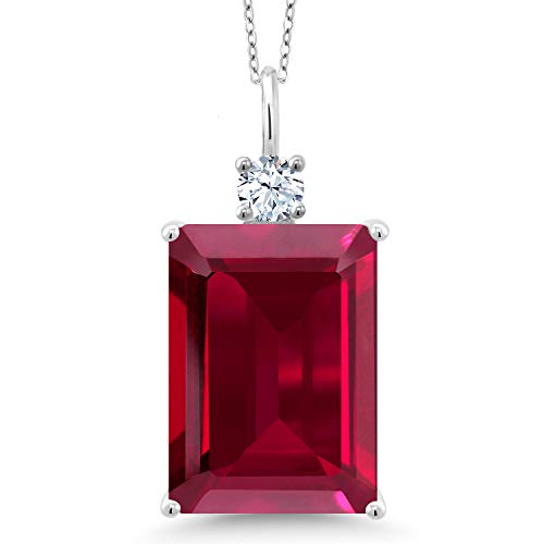 Gem Stone King 1.00 Ct Emerald Cut Red Created Ruby 925 Sterling Silver Pendant (Pendant Eyes Ruby)