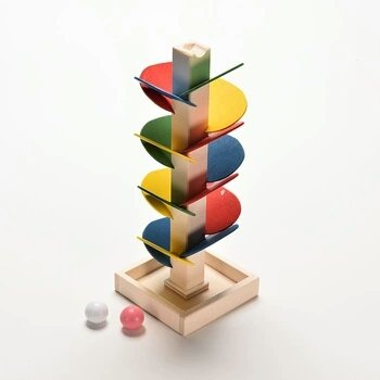 Wooden Tree Marble Ball Run Track Game Baby Kids Children Intelligence Educational Toy
