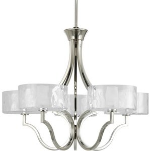 Progress Lighting P4645-104WB Caress Collection 5-Light Chandelier, Polished Nickel