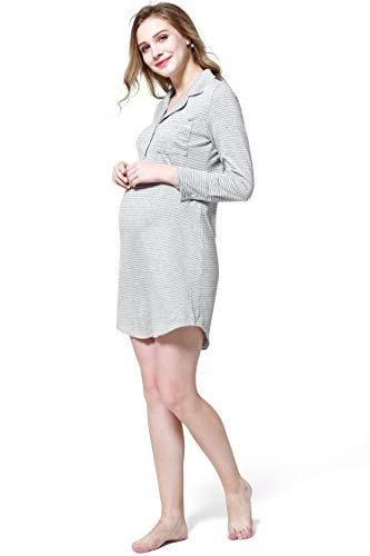 Premaman maniche Vestito Pigiama Camicia Allattamento Notte Molliya da da per a Donna Grigio Risvolto lunghe casa YwxWBq