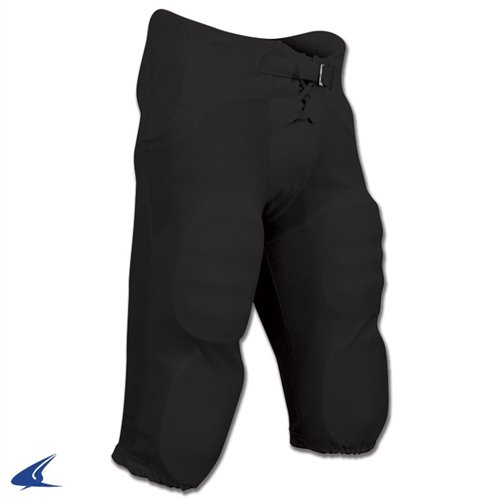 Champro Adult Integrated Practice Football Pants with Built-In Pads - Black - 2X-Large (Practice Football Pants)