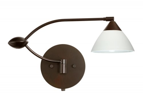 Besa Lighting 1WU-174307-BR 1X50W Gy6.35 Domi Wall Sconce with White Glass, Bronze Finish