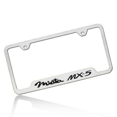 Amazon.com: Mazda Miata MX-5 Polished Steel License Plate Frame ...
