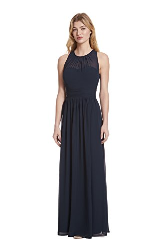 Samantha Paige Bateau Neckline Illusion Detail Pleated A-Line Chiffon Formal (Illusion Formal Dress)