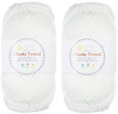 Lori Holt's Sport Weight Chunky Thread Yarn for Knitting, Crochet or Crafts 280 Yards Total - 2 Pack (Cloud)