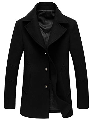 chouyatou Men's Classic Notched Collar Double Breasted Wool Blend Pea Coat (Large, Single-Black)
