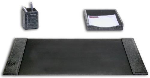 Dacasso Black Crocodile Embossed Leather Desk Set, - Accessory Piece Desk Leather 3