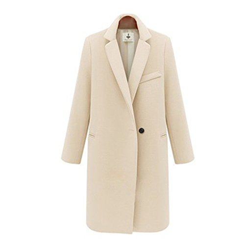 Joddie Haha Women's Winter Jackets and Coats Single Button Elegant Warm Women Woolen Coat New Long Women Coat Jacket WDC956 beige (Beige Wool Coat)