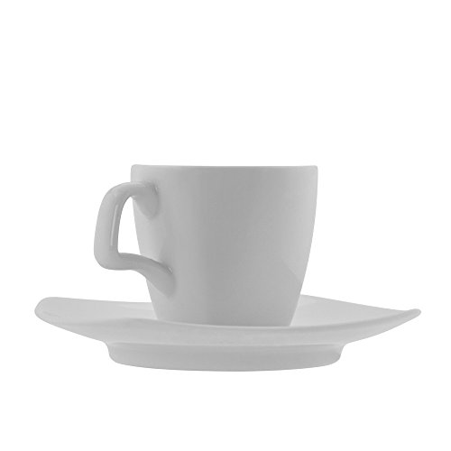 10 Strawberry Street Aurora Square 4 Oz Demi/Espresso Cup and Saucer, Set of 6, White