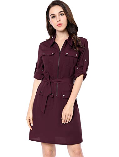 Sleeve Belted Shirt Dress - 7