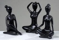 Figur Yoga, Deko-Figur, Yoga-Figur, Yoga-Skulptur, Meditationsfigur, aus Kunstharz, Höhe 30 cm, 1 Stück, sortiert