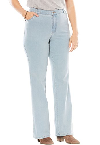 Low Rise Plus Size Jeans (Women's Plus Size Petite Stretch 5-Pocket Boot-Cut Jeans Bleach,16 Wp)