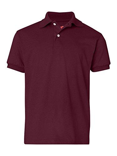 Hanes Kids' Cotton-Blend EcoSmart® Jersey Polo, Maroon, Small