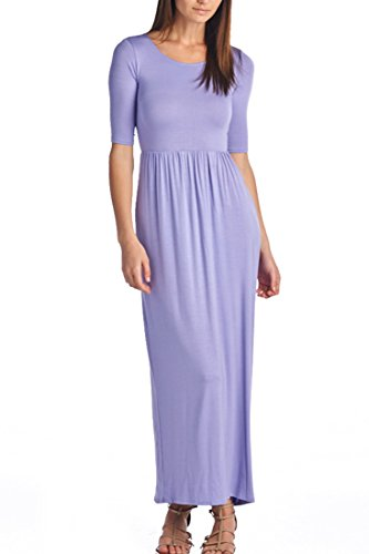 82 Days Women's Casual 3/4 Sleeve Long Maxi Dress with Elastic Waist Made in USA - Lilac ()
