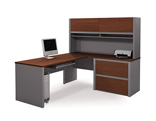 Bestar Connexion L-Shaped Desk with Two Oversized Drawers, Bordeaux/Slate (Bordeaux 2 Drawer)