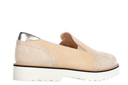 Hogan Damen Leder Slip On Slipper Sneakers h259 route vintage beige